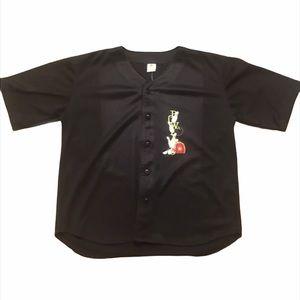 Bowling Shirt Button Down Black Jersey